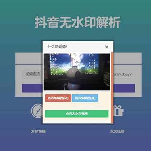 抖音视频在线去水印解析网站源码出售 无需数据库